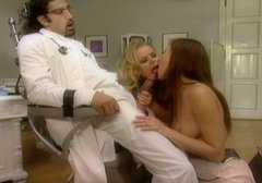 Couple of kinky nurses give lesbian show to their cocky doctor