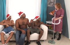 Mature white ass aunty is getting fucked in hardcore interracial gangbang