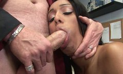 Shapely ebony whore gives to blowjob to her boss for promotion