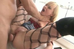 Naughty blonde slut gets anal fucked in sideways position