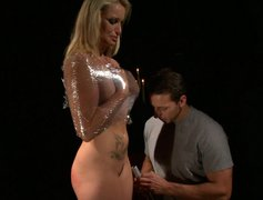 Full figured blondie gets wrapped and bounded by mean master
