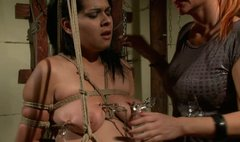 Brunette slave girl gets her tits bounded by lesbo mistress
