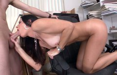 Sexy brunette whore gives head and gets her anus fucked hard
