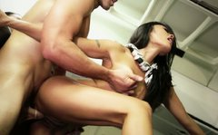 Irresistible Asa Akira is fucked brutally in hardcore double penetration fuck scene