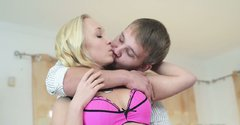 Adorable blonde teen gal is having passionate sex with her beloved BF