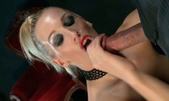 Frantic blondie in lingerie gives sloppy blowjob and gets eaten