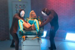 Shapely blonde hoe in tight latex suit gets fondled by two creeps