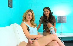 Hot FFM threesome with two divine brunette and blonde babes