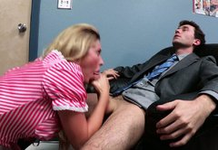 Bewitching blonde seductress gives her lover a nice blowjob