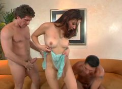 Hardcore pounding of petite redhead Latina slut in MMF threesome