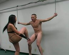 Slave boy gets his poor balls busted and kicked super hard