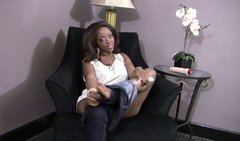 Gorgeous ebony whore fucks her pussy with her sex toy until she cums