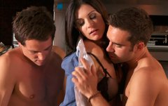 Lusty brunette housewife gets naughty with two studs in kitchen