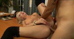 Insanely hot blonde whore gets her tight anus fucked like never before