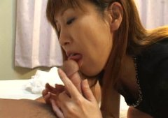 Sizzling Japanese babe with small tits gives head in 69 position