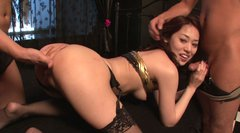Slutty Japanese wench Ann Yabuki sucks dick while getting screwed doggy style