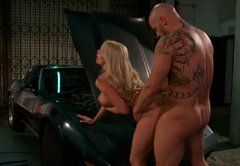 Wicked busty blondie gives sloppy blowjob and fucks doggystyle