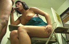 Ugly college slut bites cock and gives blowjob