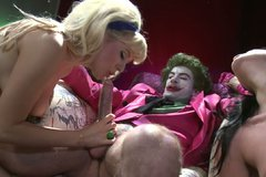 Two trashy sluts fucking a clown filming in funny FFM threesome porn video