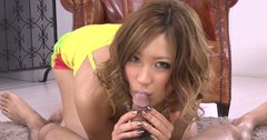 Beautiful Japanese MILF Aika gives awesome blowjob in MMF threesome