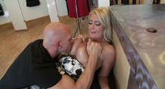 Bald headed dude dives in cleavage of one seductive juggy blonde