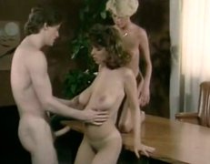 Steamy threesome on the table with busty Christy Canyon - retro