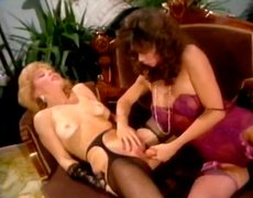 BUrning hot brunette lesbie fucks her girlfriend with dildo