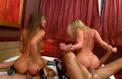 Curvaceous babe Blue Angel and her gf take part in wicked foursome