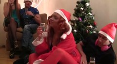 Filthy redhead slut is X-mas costume is fucked bad from behind