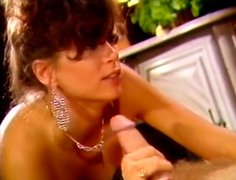 Closeup porn scene of hot brunette girl sucking and taking mouthful