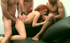 Sexy redhead maid is double penetrated in hardcore gangbang session