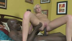 Lusty blonde hooker is riding BBC in hardcore interracial fuck video