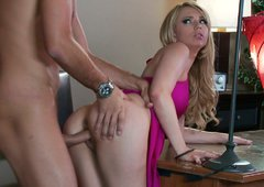 Tasty looking blond head slut with big ass gets powerfully fucked on table