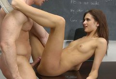 Skinny college whore with small tits gets fucked in sideways position