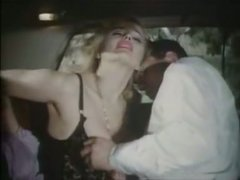 Blond vixen in sexy lingerie and stockings gets fucked in car - retro