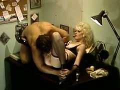 Lusty stripper in fishnets gets plowed missionary style by her boss