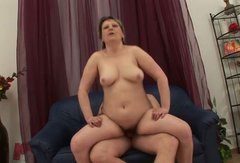 Fat granny rides her lover's stiff cock in reverse cowgirl position
