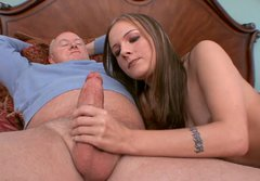 Young slut with small tits gives an old man a nice blowjob