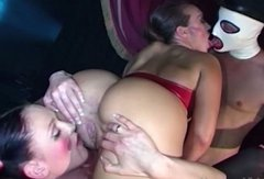 Curvaceous hooker with juicy jugs is double penetrated in hardcore FFM threesome