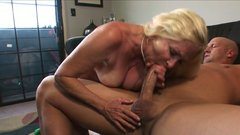 Bootyful granny rides her man's dick in cowgirl position
