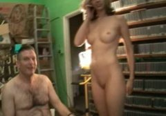 Spoiled brunette MILF enjoys riding aroused dude in front of his daddy