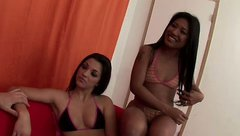 Tempting babes Alicia and Angel Lylalei please one another in a hot lesbian sex clip