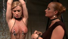 Worn out blond doxy gets her firm tits pinched with metal pegs