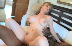 Petite bodied Caucasian mom with huge boobs is fucked hard by brutish black stud