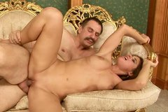 Buxom sexpot gives a hot blowjob and rides on cock