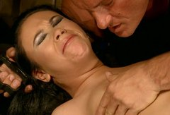 Submissive girl gets her nipples and pussy pumped hard in BDSM porn vid