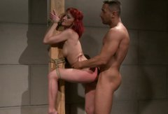 Shabby red-haired MILF welcomes a creek into her gaped anus