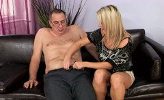 Desirable blonde girl Kitty is giving tremendous blowjob to horny old daddy