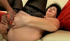 Stretched stinky pussy of ardent fat mature gets dildo fucked