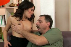 Young brunette harlot gives hot blowjob to an old man